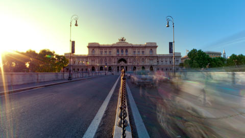 Time-lapse shot of the Palace of Justice from the bridge at sunset Footage