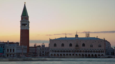 Time-lapse of the boats on the canal in front of Saint Marks Square Footage