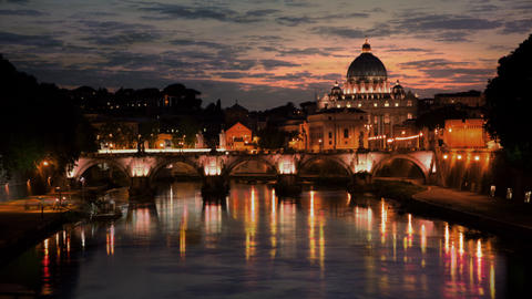 Sunset time-lapse of the Vatican City, from across the Tevere River Footage