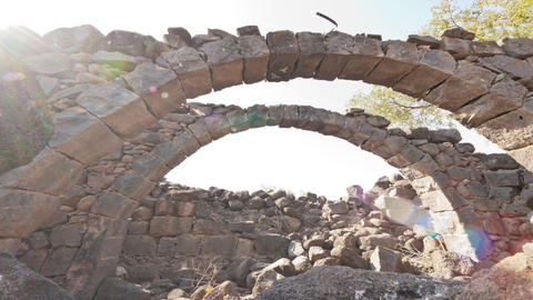 Tracking time lapse under stone arches Footage