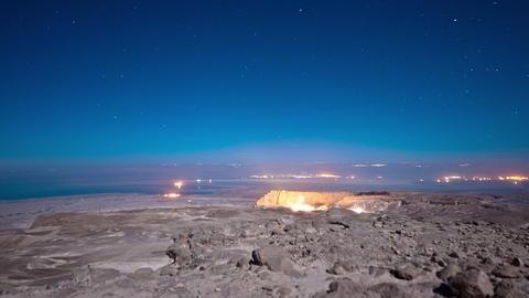 Night time-lapse at Masada Footage
