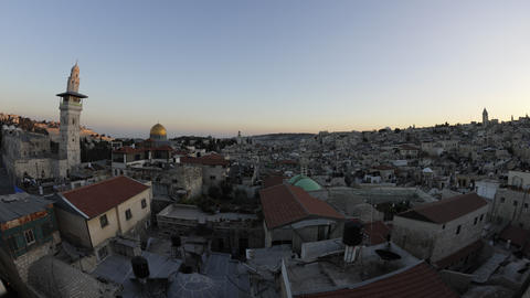 Tracking time-lapse of Jerusalem and the Dome of the Rock at dusk Footage