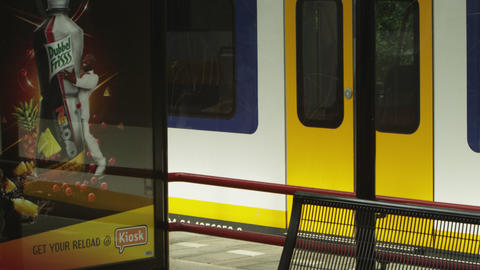Shot of a parked train at a train station in Amsterdam Footage