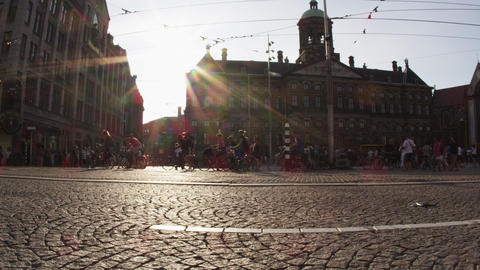 Static shot of the Royal Palace of Amsterdam from across the street Footage