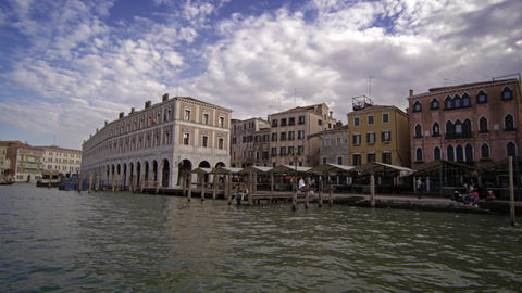 Cool buildings along the water, located in Venice Footage