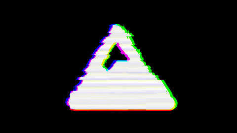 From the Glitch effect arises mountain symbol. Then the TV turns off. Alpha channel Premultiplied - Animation