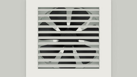 Plastic black fan on white wall Animation