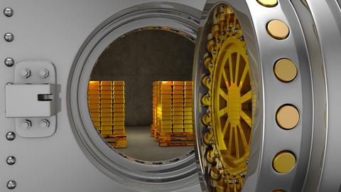 Bank safe and gold bars GIF