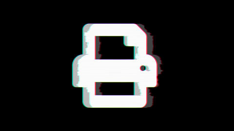 From the Glitch effect arises print symbol. Then the TV turns off. Alpha channel Premultiplied - Animation