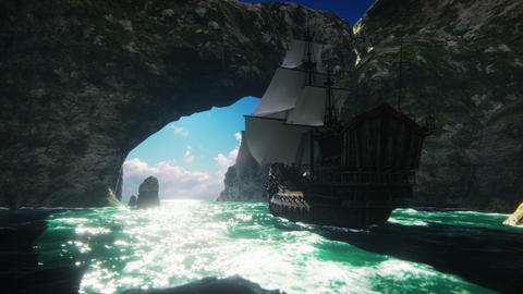 A large medieval ship on a Sunny day sails from a deserted rocky island Animation