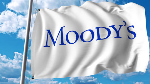 Waving flag with Moody's Corporation logo. 4K editorial animation Live Action