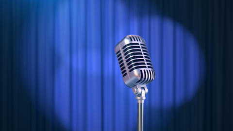 Retro Microphone and a Blue Curtain with Rotating Spotlights Animation