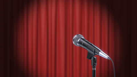 Microphone and Red Curtains Background Animation