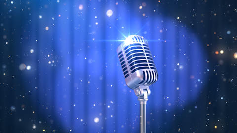 Stand Up Background with a Blue Curtain, Rotating Spotlights and Old Fashioned Microphone Animation