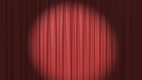 Red Curtain with the Spotlight Stock Video Footage
