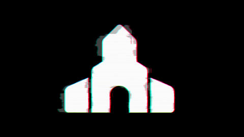 From the Glitch effect arises place of worship symbol. Then the TV turns off. Alpha channel Animation