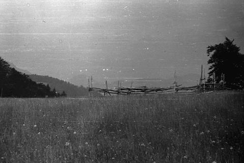 Landscape from Yugoslavia, around 1965. Mountain slope, forest, wooden fence Photo