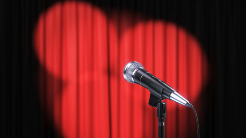 Red Curtain with Rotating Spotlights and Microphone Animation