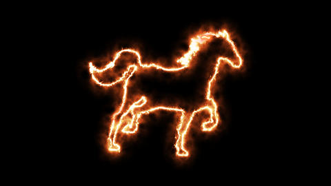 Fire horse animated in PNG format with ALPHA transparency channel Footage