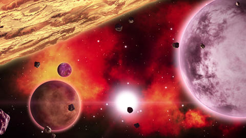Planets in front of fiery red nebulae in deep space. Space art collection. Loop Footage