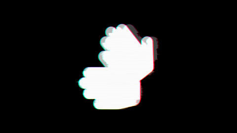 From the Glitch effect arises sign language symbol. Then the TV turns off. Alpha channel Animation