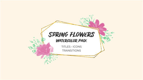 Spring Flowers. Watercolor Pack After Effectsテンプレート