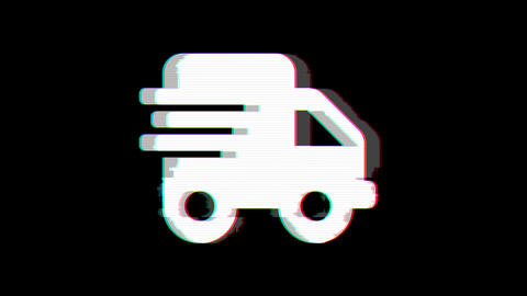 From the Glitch effect arises shipping fast symbol. Then the TV turns off. Alpha channel Animation