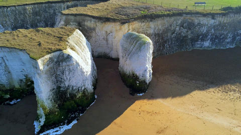 Beautiful Botany Bay and chalk rocks in England from above Live Action