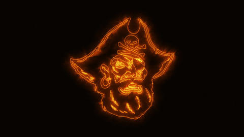 Orange Burning Pirate Head Animated Logo with Reveal Effect CG動画素材