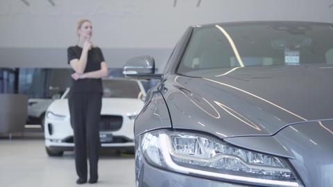 Customer choosing automobile to buy. Blurred woman figure in black wear standing Footage