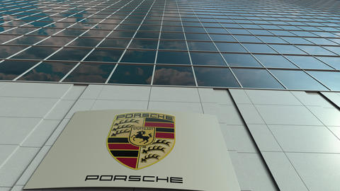 Signage board with Porsche logo. Modern office building facade time lapse Live Action