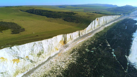 Flight over the white cliffs of the South England coast Live Action