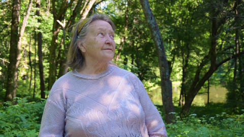 portrait of grandmother. caucasian positive granny... Stock Video Footage
