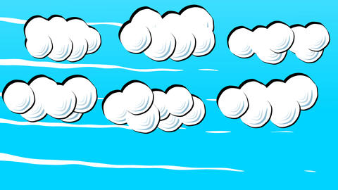 White Fluffy Cartoon Clouds on Blue Sky in Stop Motion Style Footage