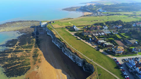 Flight over Botany Bay with its white cliffs in Kent Stock Video Footage