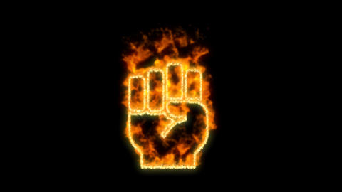 fist raised symbol inflames. Then disappears. In - Out loop. Alpha channel Premultiplied - Matted Animation