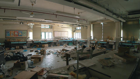 Abandoned School - Destroyed Chemistry Classroom 01 Footage