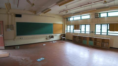 Abandoned School - Classroom with Chalkboard Footage
