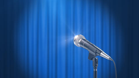 Microphone and a Blue Curtain Background Animation