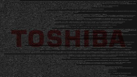Toshiba Corporation logo made of source code on computer screen. Editorial Live Action