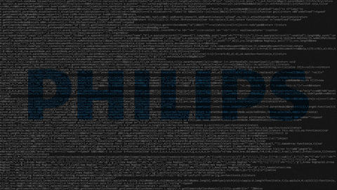 Philips logo made of source code on computer screen. Editorial loopable Live Action