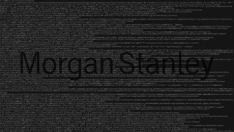 Morgan Stanley logo made of source code on computer screen. Editorial loopable Live Action