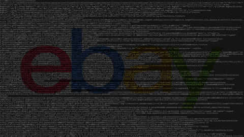 eBay Inc. logo made of source code on computer screen. Editorial loopable Live Action