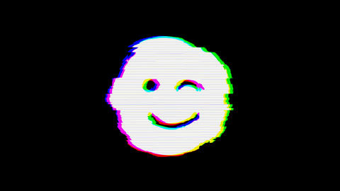 From the Glitch effect arises smile wink symbol. Then the TV turns off. Alpha channel Premultiplied Animation