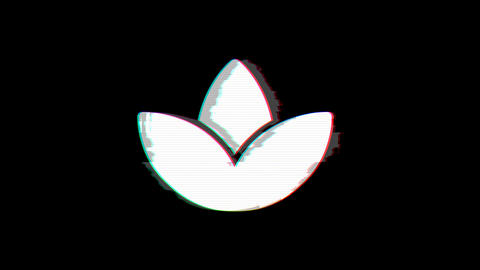 From the Glitch effect arises spa lotus symbol. Then the TV turns off. Alpha channel Premultiplied - Animation