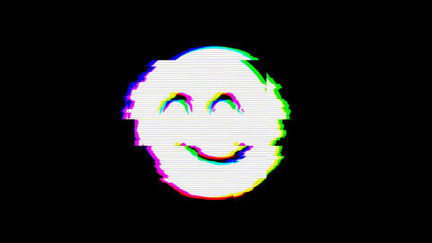 From the Glitch effect arises smile beam symbol. Then the TV turns off. Alpha channel Premultiplied Animation