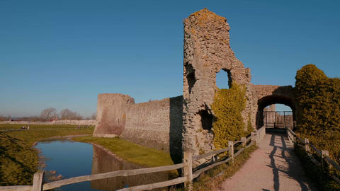 Pevensey Castle in Sussex ruins of medieval castle Footage