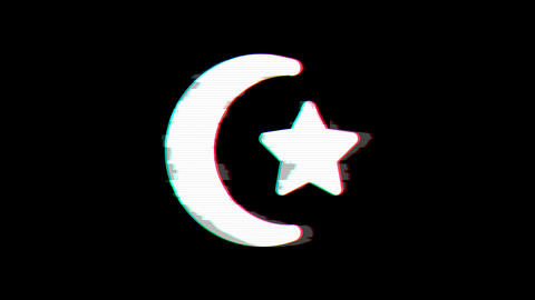 From the Glitch effect arises star and crescent symbol. Then the TV turns off. Alpha channel Animation