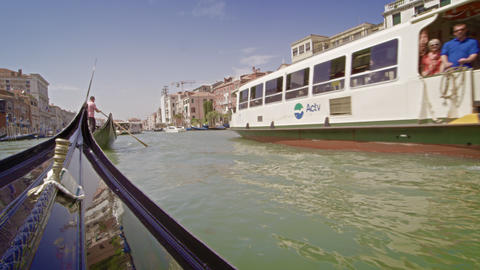 Tour boat on the Grand Canal from a gondola Footage