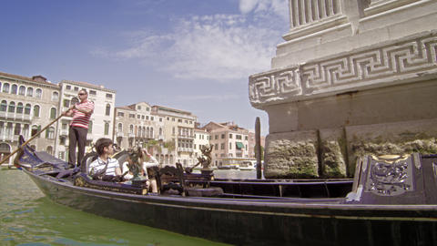 VENICE, ITALY - MAY 2: A couple take a gondola ride on the Grand Canal. May 2, 2 Footage